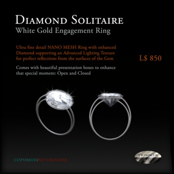 Diamond Solitaire Engagement Ring - set in White Gold by Trimmer Bay - NANO MESH with A.L.T.