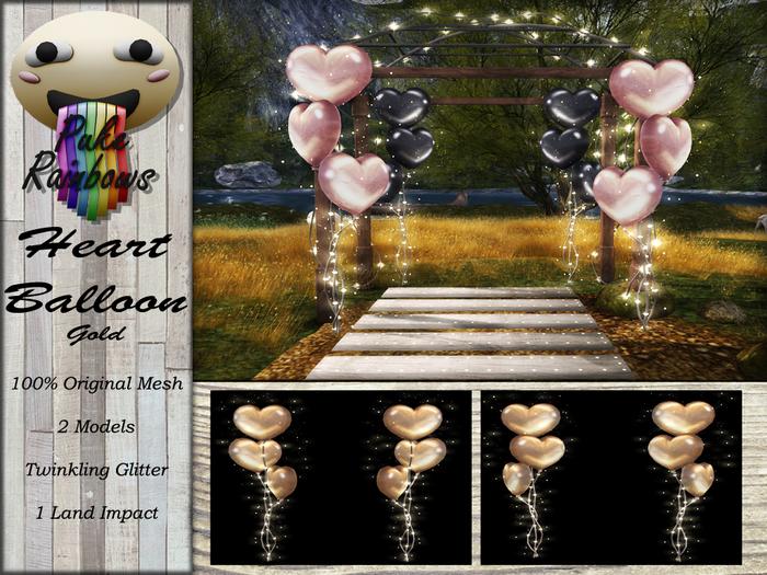[PR] Heart Balloons - Gold (Boxed)