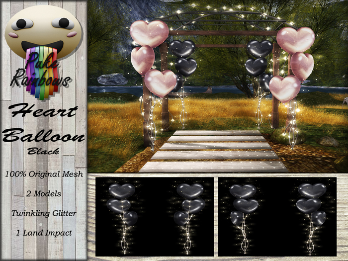 [PR] Heart Balloons - Black (Boxed)