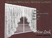 Princess White Lace Window Curtains - 1 Prim