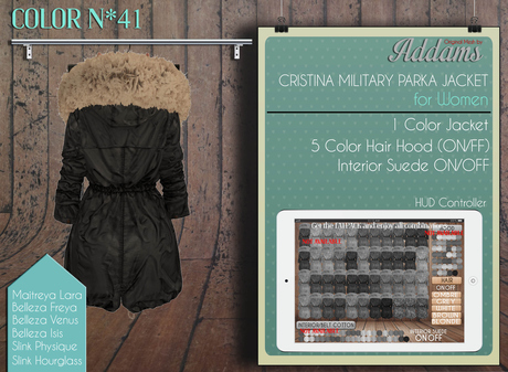 "Addams Military Parka Mesh Jacket ""Cristina"" for Women's #41"
