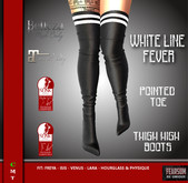 [F] Pointed Toe Thigh High Boots - White Line Fever