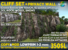 Rock CLIFF SET for building complex rock cliffs or privacy wall, mossy, ivy, rock,snowy winter