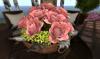 CJ Rose Arrangement pink in rustic bowl ~ c + m ~