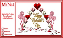 MiNat Valentine's day Arch heart with balloons script