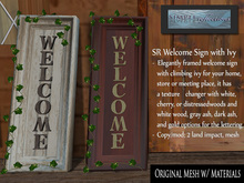SR Welcome Sign with Ivy - welcome for home or store 100% mesh