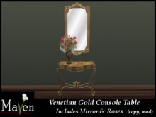 Venetian Gold Console Table & Mirror incl. Rose Vase