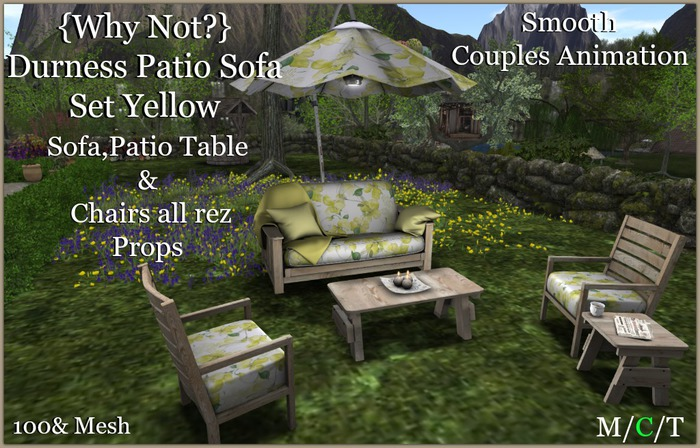 {Why Not?} Durness Couples Patio Sofa Yellow-Boxed