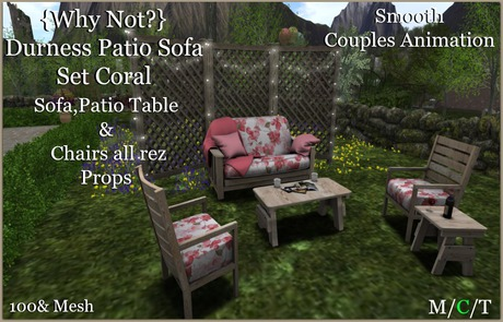 {Why Not?} Durness Couples Patio Sofa Coral-Boxed