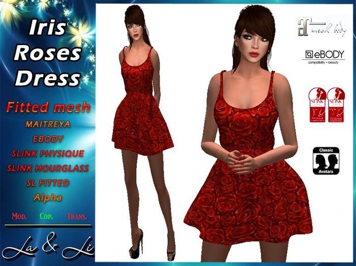 * PROMO * La&Li  Iris Roses Dress