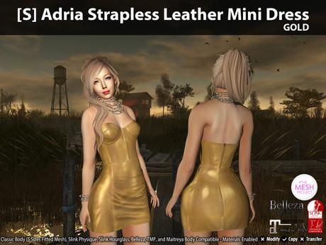 [S] Adria Strapless Leather Mini Dress Gold