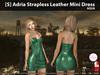 [S] Adria Strapless Leather Mini Dress Aqua