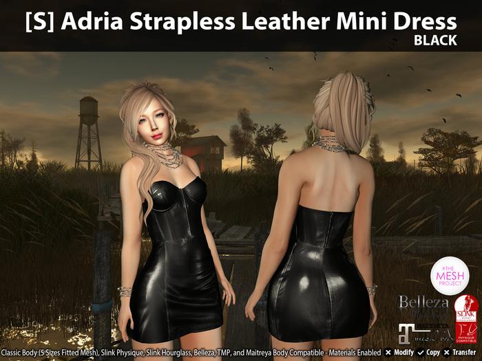 [S] Adria Strapless Leather Mini Dress Black