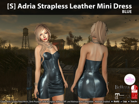 [S] Adria Strapless Leather Mini Dress Blue