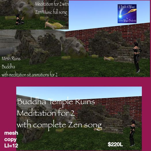 Buddha Meditation Ruins for 2 complete Zen son (crate)