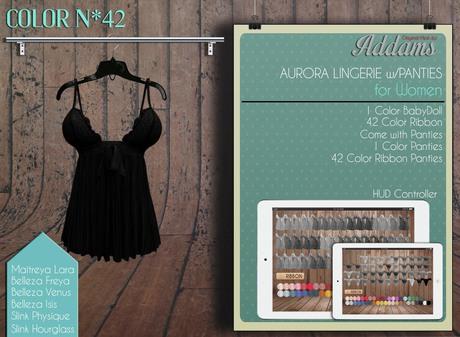 "Addams ""Aurora"" Lingerie & Panties -Maitreya, Belleza, Slink- Mesh BabyDoll #42"