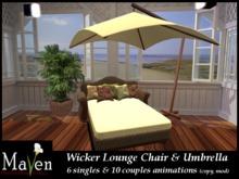 Wicker Couples & Singles Lounge Chair & Umbrella Patio Set
