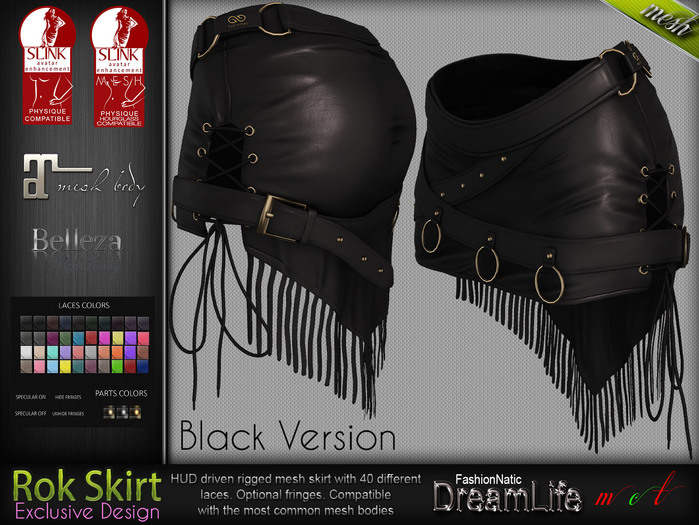 Rok Black Gothic Mini Female Skirt - Maitreya Lara, Slink Physique Hourglass, Belleza - DreamLife - FashionNatic
