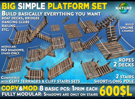 Wooden platform SET stairs, decks, ropes - assemble cliff terraces on waterfall, bridges, boat + dancing decks