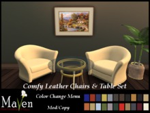 Free Promo! 3pc Glass Top Table & Comfy Leather Chairs Set - 22 Leather Choices! 6 Metal Choices!