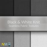 Black and White Seamless Knit Fabric Textures Full Permission Designer Fabrics Set nessmarket.com