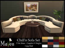 Chill'n Sofa Set - 5 Ppl Couch, 16 Colors!, Singles & Couples Animations Plus Table & Candles