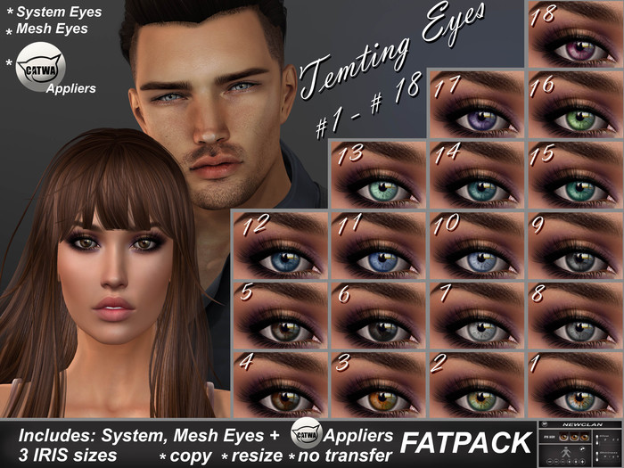 NEWCLAN_Tempting Eyes_FATPACK (18 colors)