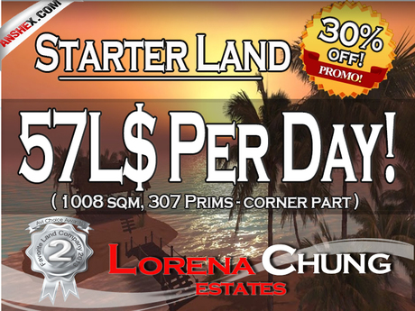Starter Land with Full Land rights 57L$ a day only!**