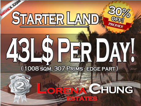 Starter Land with Full Land rights 43L$ a day only!**