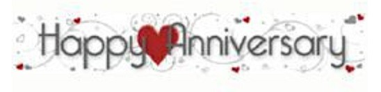 Happy Anniversary Banner with Red Hearts