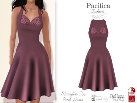 Pacifica Fashion - Marilyn Pink 50s Dress (Belleza, Maitreya, Slink)