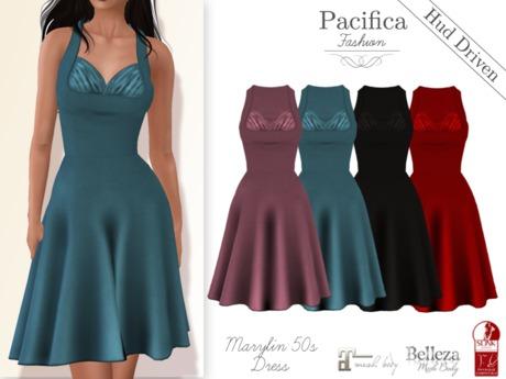 Pacifica Fashion - Marylin 50s dress (with HUD) for Belleza, Maitreya, Slink