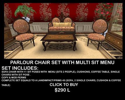 Antique Parlour Room Sofa Set With Sit Menu