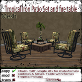 @Incendia Tropical Iron Patio set and fire table Chair