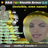 A&A Fun Stealth Armor 2.0! Fun vintage prim armor with sound effects