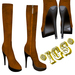 *IGS* Boots with zip, Light brown