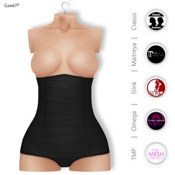 GAWK! Black HighWaist Panties | BoM & Appliers for Maitreya, Slink, TMP & Omega System