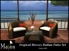 Discontinued - Tropical Breezes Rattan Chairs & Table Patio Set