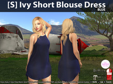 [S] Ivy Short Blouse Dress Blue