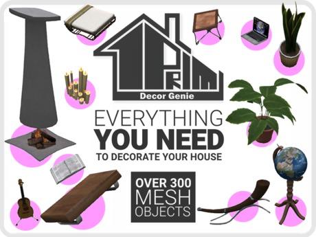 "COPY/MOD 1 Prim ""Mesh Decor Genie"" 300+ Mesh Objects! Statues●Lamps●Artwork●Tables●Plants●Books●Kitchenware & More!"