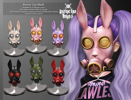 .{PSYCHO:Byts}. Bunny Gas Mask - Black