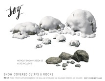 Soy. Snow covered cliff and rock Set [addme]