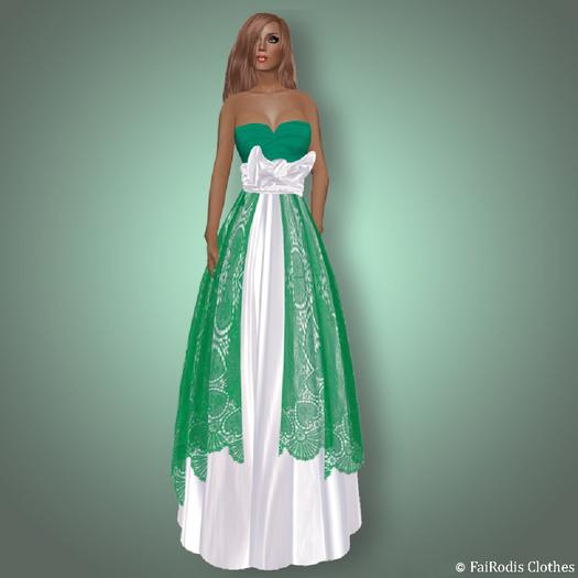 FaiRodis Shamrock green white lace dress