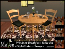 Windsor Round BreakfastTable & Chairs - 4 Wood & Place Setting Changes Plus Animations