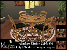 Windsor Round Dining Room Table & Chairs - 4 Wood & Place Setting Changes Plus Animations