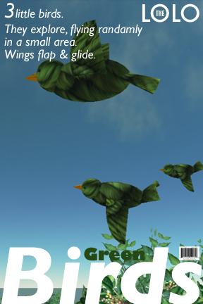 Three Little Green Birds: Flying & Animated