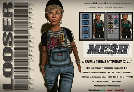█║▌LOOSER ║▌║® // Beverly Overall and Top DENIM 02 // HUD MESH // MATERIAL ENABLED