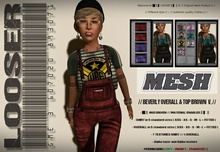 █║▌LOOSER ║▌║® // Beverly Overall and Top RED and VIOLET // HUD MESH // MATERIAL ENABLED
