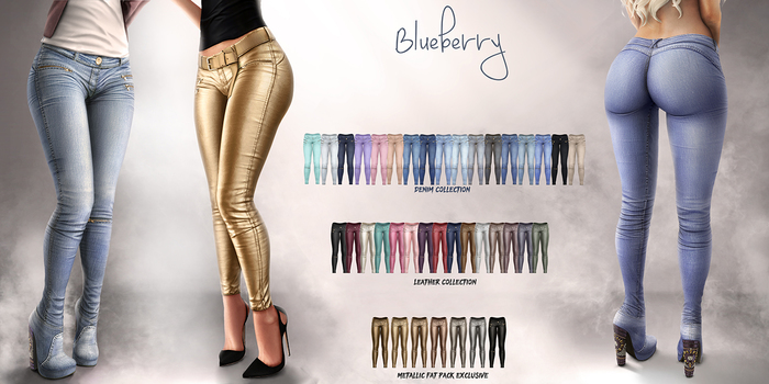 Blueberry - Gracie Pants - Maitreya, Belleza (All), Slink Physique Hourglass - ( Mesh ) - Fat Pack