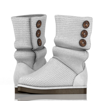 fame femme: Knitted Uggs  - White